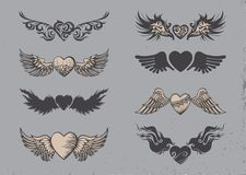 Tattoo hearts. Set of tattoo black hearts with wings Stock Illustration