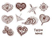 Tattoo henna element set Stock Photos