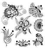 Tattoo henna element set. Vector abstract patterns of tattoo henna. Stock mehndi set for design on white background Stock Photo