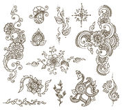 Tattoo henna element set. Vector abstract patterns of tattoo henna. Zentangle, paisley and flower. Stock mehendi set for design on white background Royalty Free Stock Image