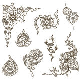 Tattoo henna element set. Vector abstract patterns of tattoo henna. Zentangle, paisley and flower. Stock mehendi set for design on white background stock images