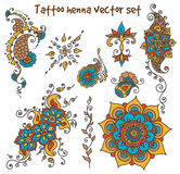 Tattoo henna element set. Vector abstract patterns of tattoo henna. Zentangle, paisley and flower. Stock mehendi set for design on white background stock photos