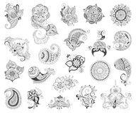 Tattoo henna element set. Vector abstract patterns of tattoo henna. Zentangle, paisley and flower. Stock mehndi set for design on white background Stock Images