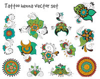 Tattoo henna element set. Vector abstract patterns of tattoo henna. Zentangle, paisley and flower. Stock mehndi set for design on white background Stock Photo