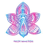 Tattoo henna lotus. Vector abstract lotus of tattoo henna. Isolated zentagle for design on white background royalty free stock image
