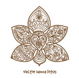 Tattoo henna lotus. Vector abstract lotus of tattoo henna. Isolated zentagle for design on white background royalty free stock photo