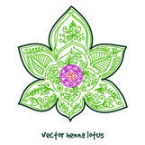 Tattoo henna lotus. Vector abstract lotus of tattoo henna. Isolated zentagle for design on white background stock image