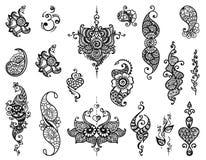 Tattoo henna mandala set Stock Photo