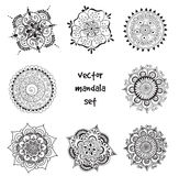 Tattoo henna mandala set. Vector set of abstract tattoo henna mandala. Isolated zentagle for design on white background Royalty Free Stock Photos