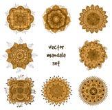 Tattoo henna mandala set. Vector set of abstract tattoo henna mandala. Isolated zentagle for design on white background stock image