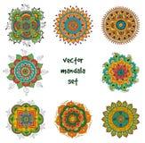 Tattoo henna mandala set. Vector set of abstract tattoo henna mandala. Isolated zentagle for design on white background Royalty Free Stock Images