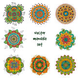Tattoo henna mandala set stock illustration