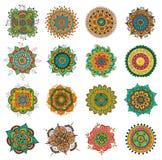 Tattoo henna mandala set. Vector set of abstract tattoo henna mandala.  zentagle for design on white background Royalty Free Stock Photos
