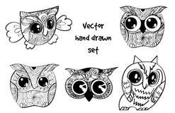 Tattoo henna owl set. Vector set of tattoo henna hand drawn owl Royalty Free Stock Image
