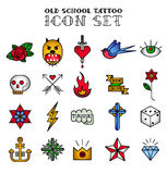 Tattoo icon set Royalty Free Stock Image