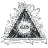 Tattoo illustration abstract sacred geometry with an all-seeing eye. Mystic eye inside the triangle against the background of the universe Royalty Free Stock Photography