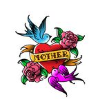 A tattoo with the inscription of Mom. A heart and flower tattoo with a flower. Tattoo in the style of the American old school. Vector flat tattoo. The stock photography