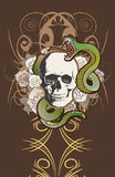 Tattoo style skull and roses Royalty Free Stock Photo