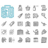 Tattoo items line icons set. Set of 25 black line icons for tattoo accessories and equipment. Needles kit, tattoo machines, power supply, gloves, ink and other Royalty Free Stock Images