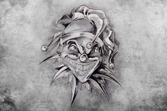 Tattoo joker, illustration, handmade Stock Images