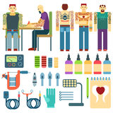 Tattoo kit and equipment, people studio ink art icons tools vector set. Stock Photo