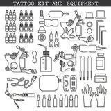 Tattoo kit and icons Stock Image
