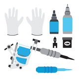 Tattoo kit, tools, gloves and equipment in flat  style. Stock Image