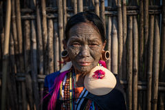 Tattoo Lady Of Shin Myanmar Stock Photography