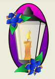 Tattoo lantern and roses stencil vector Stock Photo