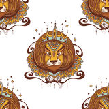 Tattoo leo vector illustration. The king leo illustration for coloring pages. Royalty Free Stock Photos
