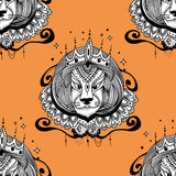 Tattoo leo vector illustration. The king leo illustration for coloring pages. Stock Photos