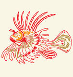 Tattoo Lionfish. Exotic lion fish illustrated with tattoo style royalty free illustration