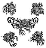 Tattoo lions. The collection of five tattoo's designs with flaming lions Royalty Free Stock Images