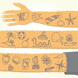 Tattoo on long hand isolated vector Stock Photography
