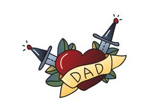 Tattoo love for dad on white background. vector illustration
