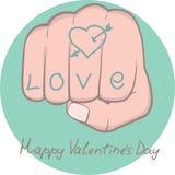 Tattoo. Love on the fist stock illustration