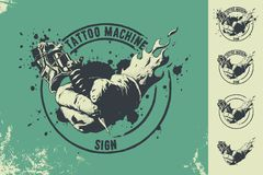tattoo machine and hand sign royalty free illustration