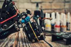 Tattoo machine and tattoo supplies Stock Images