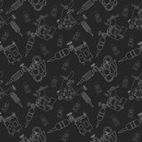 Tattoo machines and ink pattern. Black Stock Photo