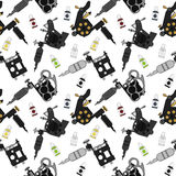 Tattoo machines and ink pattern. Color Royalty Free Stock Images