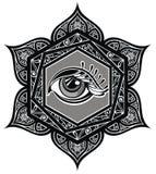Tattoo mandala with eye Stock Image