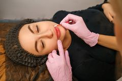 Tattoo master makes the client tattoo eyebrows and lips stock photos