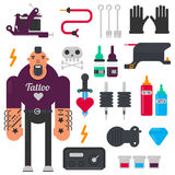 Tattoo master and tattooing tools vector icons set Stock Images
