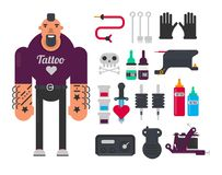 Tattoo master and tattooing work tools vector flat icons set Royalty Free Stock Photo