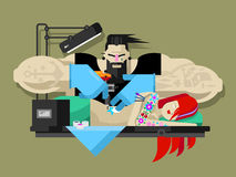 Tattoo master at work. Tattoo master. Machine professional, fashion tattooing, tattooist art, artist and body, flat vector illustration Royalty Free Stock Photography