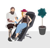 Tattoo master at work. Professional tattooer doing tattoo to young woman. Tattooist with client. Flat illustration. Tattoo master at work. Professional tattooer Royalty Free Stock Image