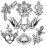 Tattoo Monochrome Elements Set Stock Photography