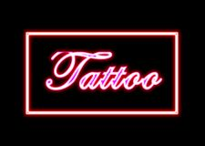 Tattoo neon sign shop Stock Images