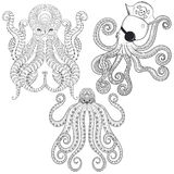 Tattoo Octopus set. Hand drawn zentangle tribal Octopuses for ad Royalty Free Stock Photography