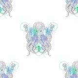 Tattoo Octopus. Zentangle stylized  Hand drawn tribal Octopus se Royalty Free Stock Image